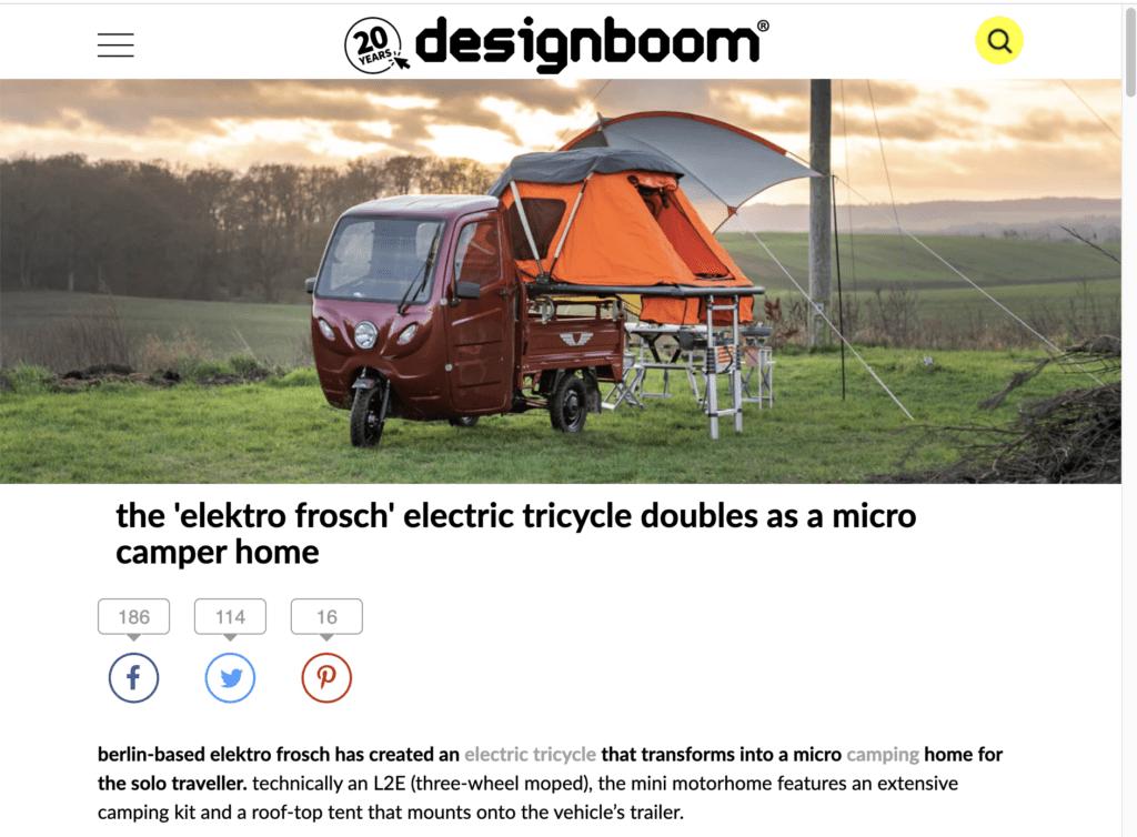 Elektrofrosch Camping - Beitrag bei DesignBoom