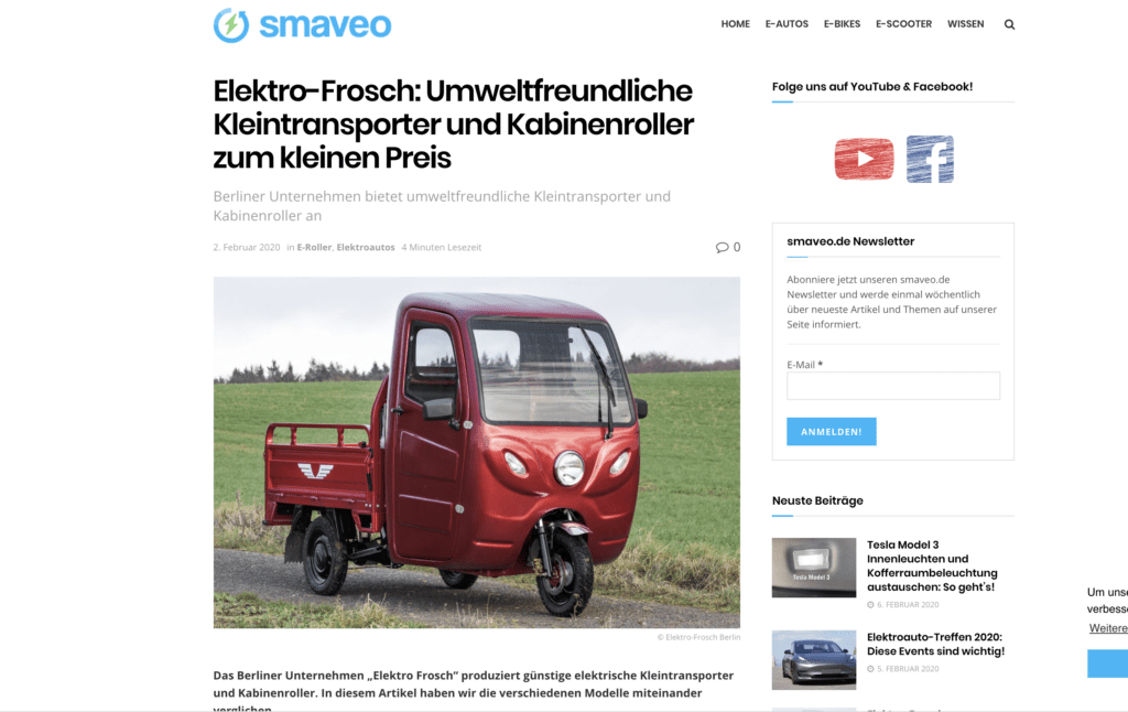 Elektro-Frosch: Umweltfreundliche Kleintransporter und Kabinenroller zum kleinen Preis