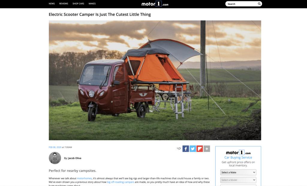 Elektrofrosch Camping - Beitrag bei Motor1.com